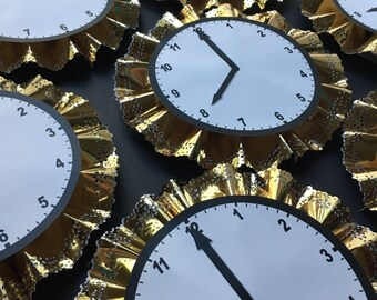 Around the clock golden clocks for baby/wedding shower or New Year's Eve