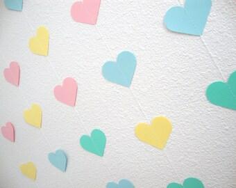 Pastel Paper Heart Garland, Baby Shower Backdrop, Bridal Shower, Cake Smash Session, Baby's 1st Birthday