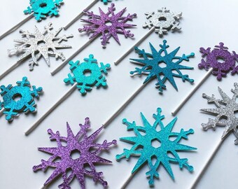 """Snowflake cupcake toppers in """"Frozen"""" colors or custom colors"""