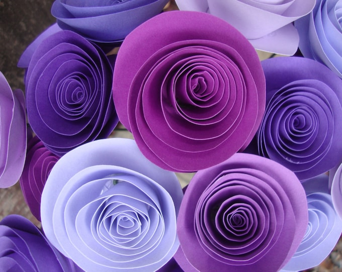 Purple Passion rolled paper flower bouquet of 24