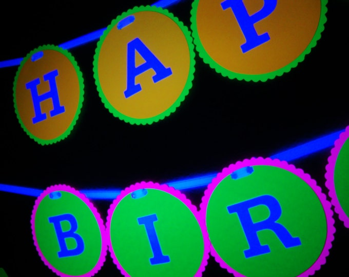 Black light party HAPPY BIRTHDAY banner