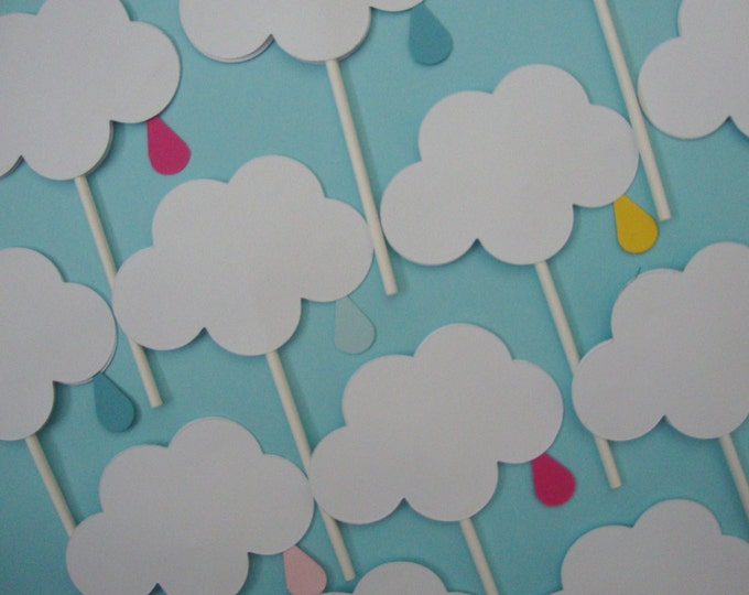 Baby/wedding sprinkle shower cloud cupcake toppers set of 12