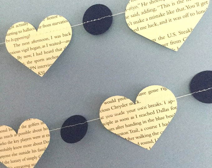Heart Garland from Book Pages for Rustic Wedding