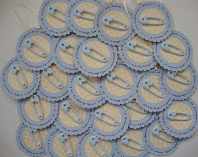 Customized diaper pin baby shower party favor tags or cupcake toppers set of 20
