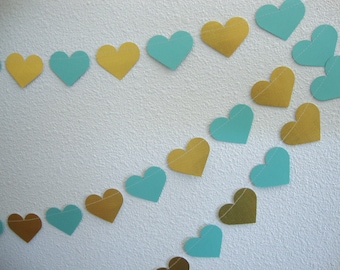 Glitter/metallic heart garland
