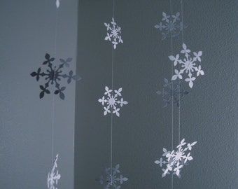 Hanging snowflake garland set of 4 strands