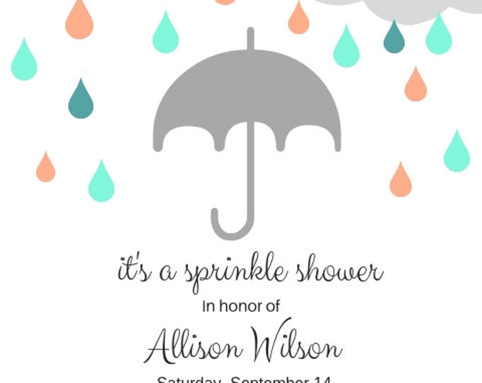 It's a Sprinkle Shower baby or bridal shower invitation digital file to download