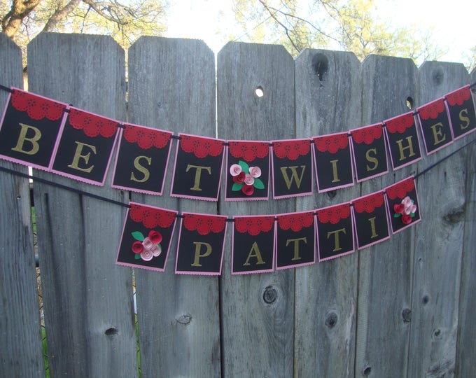 Floral party banner -- custom colors with glitter letters