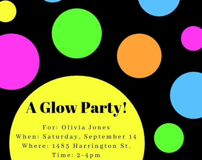 Glow Party invitation digital file to download