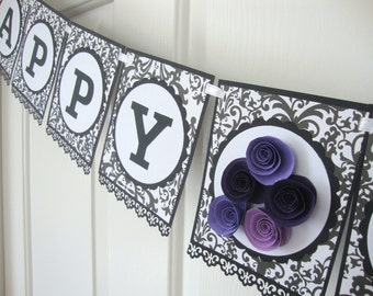 Damask floral banner (any message)
