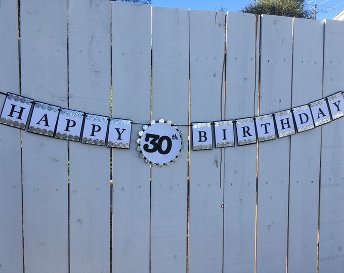 Silver glitter and black HAPPY 30th BIRTHDAY banner
