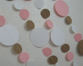 Circle Garland Decoration in Pink, White and Brown or Your Custom Colors for Parties, Baby Showers. or Bridal Showers