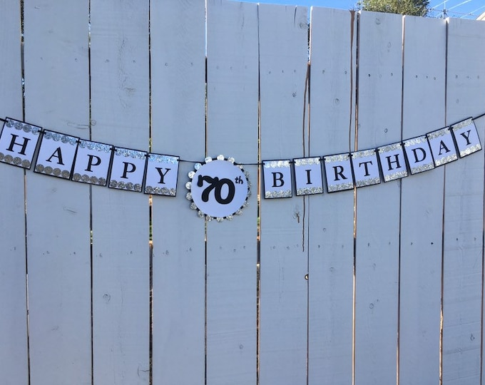 Silver glitter and black HAPPY 70th BIRTHDAY banner