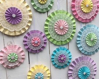 Springtime Pastels Paper Medallion Rosette Backdrop for Easter and Spring decor or photo shoot