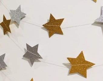 Gold and Silver Glitter Star Garland