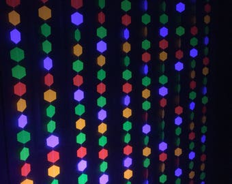 Neon Glow Party Backdrop, Hexagon Garlands, Glow in the Dark Decoration, 80s Party Backdrop