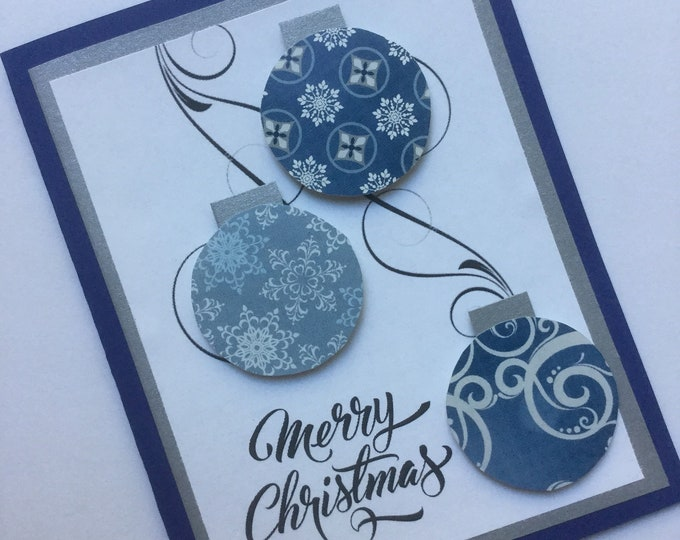 Merry Christmas blue, white and silver ornament greeting card