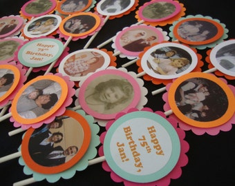 Custom Photo Cupcake Toppers or Tags for Birthdays, Retirement or Graduation
