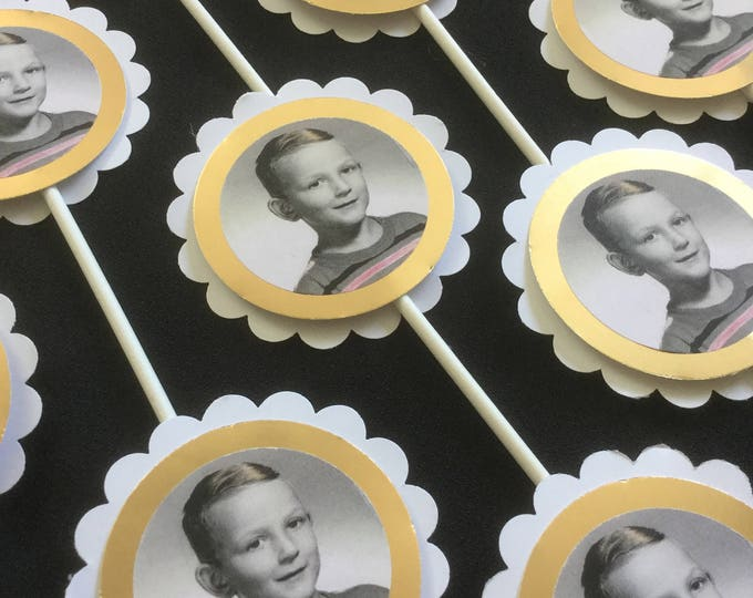 Custom photo party tags and cupcake toppers for milestone birthday