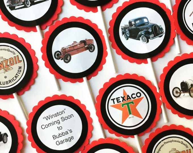 Custom Vintage Car-Themed Cupcake Toppers or Tags for Birthdays, Retirement, Baby Showers, etc.