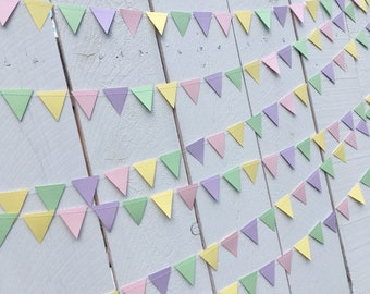 Triangle pennant-style pastel bunting garland