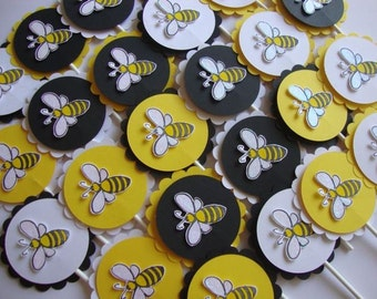 Bumblebee Party Cupcake Toppers or Tags