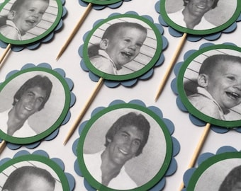 "Smaller 2.5"" Custom Photo Cupcake Toppers on Toothpicks"