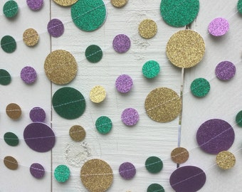 Double-sided Glitter Mardi Gras Garland in Gold, Green, and Purple