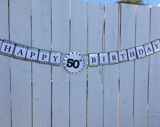 Silver glitter and black HAPPY 50th BIRTHDAY banner