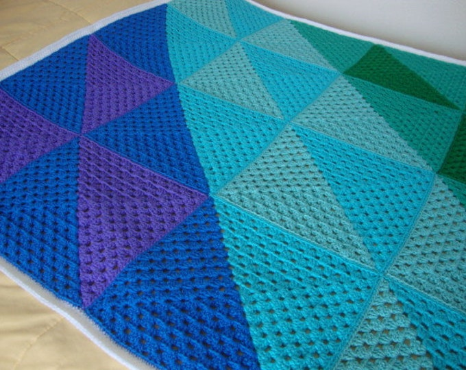 Ombre Blue, Mint, Green, Turquoise, Purple hand-crocheted blanket