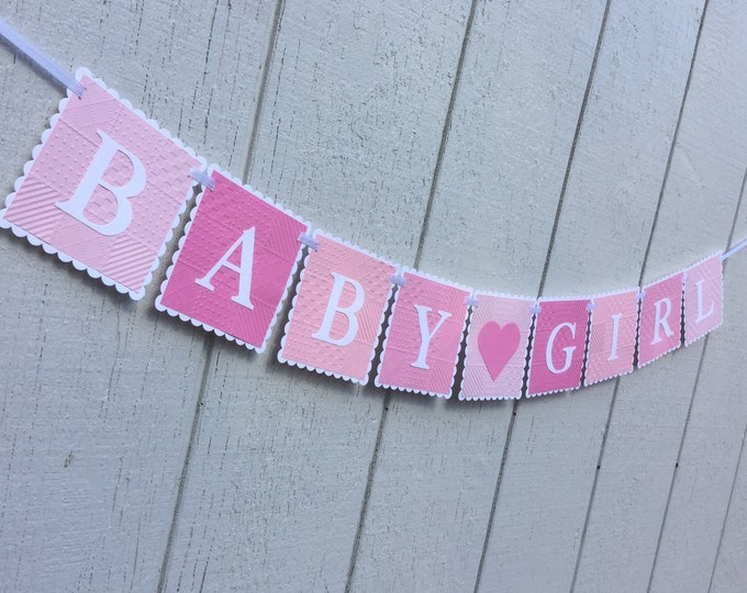 Baby Girl Baby Shower Banner with Heart
