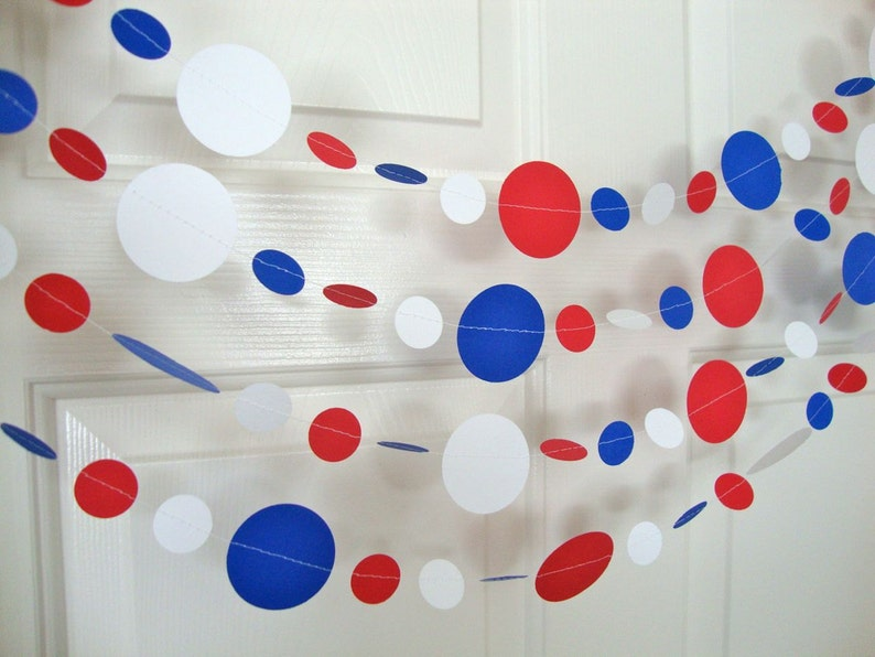 Holiday Decoration Labor Day Fourth Of July Paper Circle Bunting Holiday Garland Patriotic Garland Red White and Blue Memorial Day