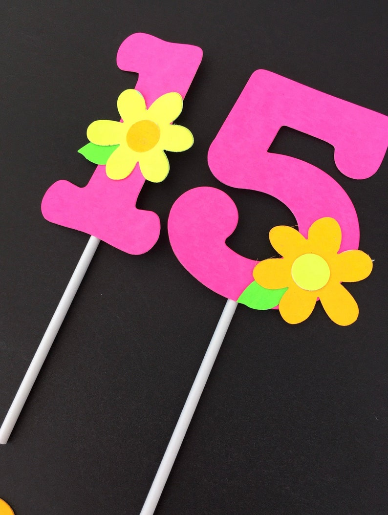 Neon Number Cake Topper Glow Party Cake Topper Neon Birthday image 0