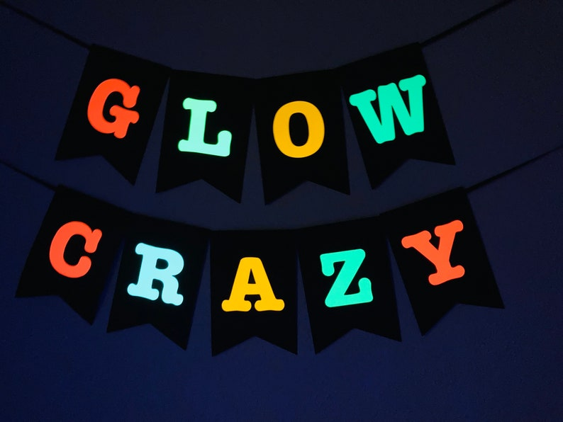 Glow Crazy Banner Glow Party Sign Neon Banner Black Light image 0