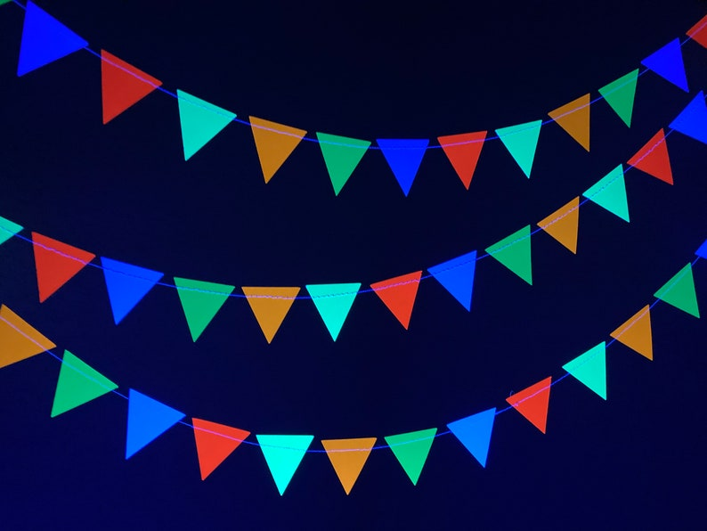 Glow Party Decoration Neon Triangle Bunting Black Light image 0