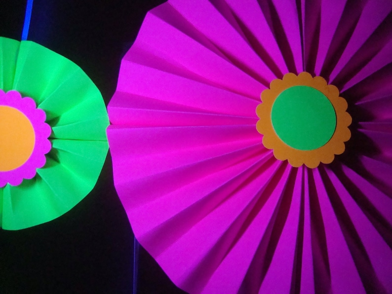 Glow Party Backdrop Neon Paper Medallions Sweet 16 Glow image 0