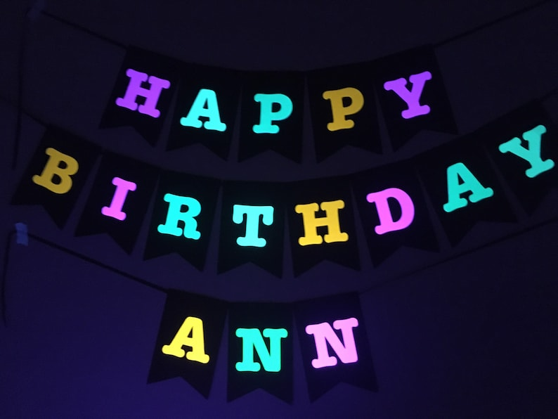 Large Neon Birthday Banner Glow Party Banner Custom Neon image 0