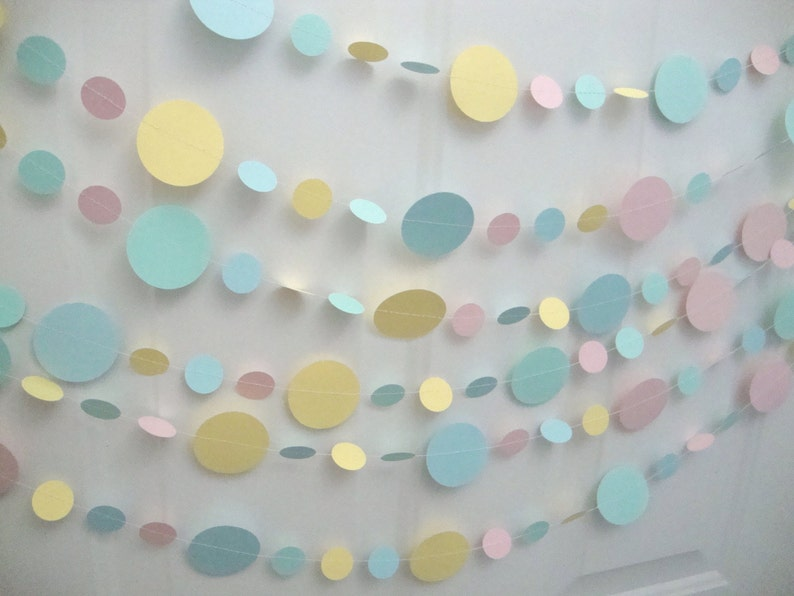 Pastel Paper Circle Garland Pastel Bridal Shower Garland image 0