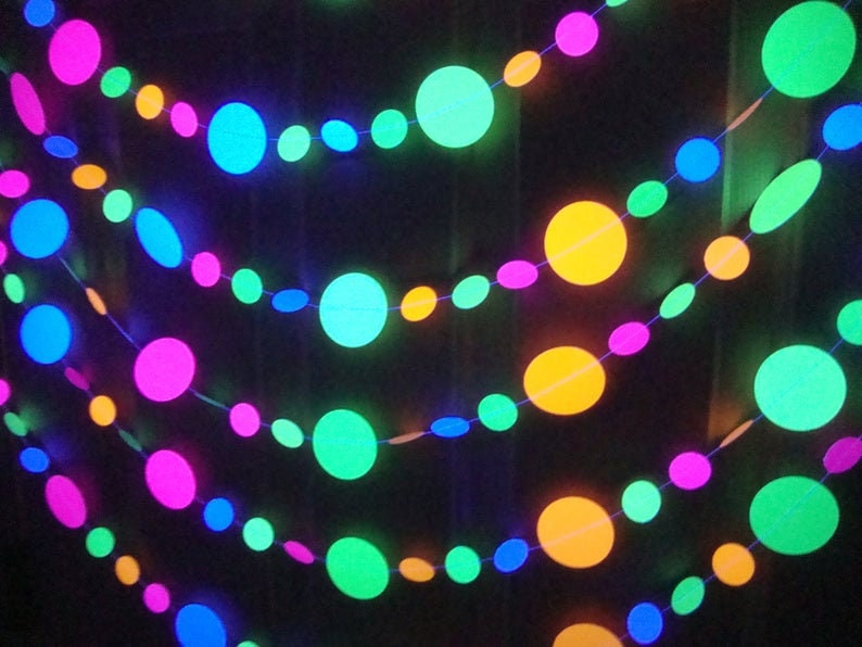 Glow Party Decorations 15-foot Neon Garland UV Reflective image 0