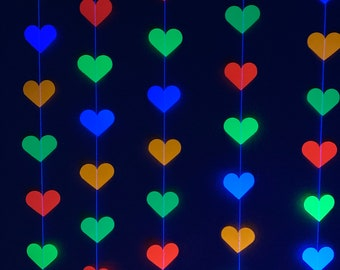 Glow Party Decoration, Neon Heart Garland, 80s Party Decor, Fluorescent Hearts, UV Reflective Hearts, Sweet 16 Glow Party, Neon Dance Party