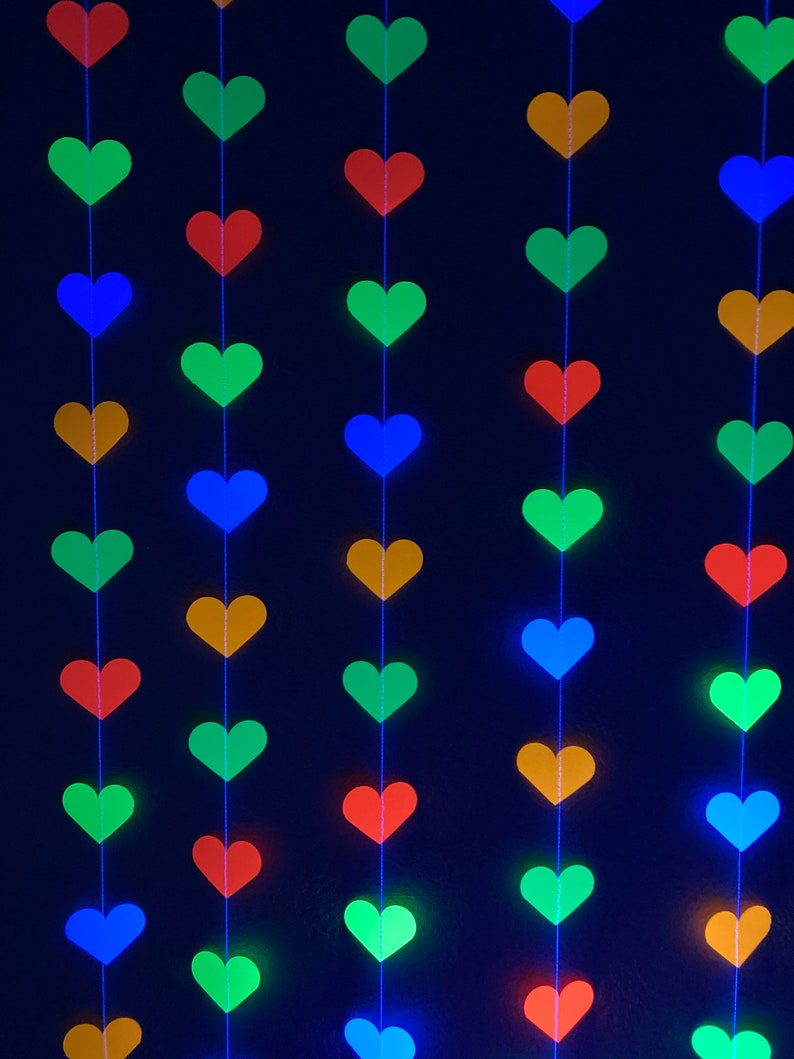 Glow Party Decoration Neon Heart Garland 80s Party Decor image 0