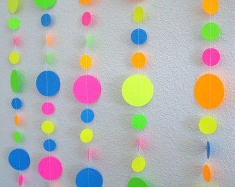 Glow Party Neon garlands, Retro 80s decor, Black light party decorations, Glow in the Dark party backdrop