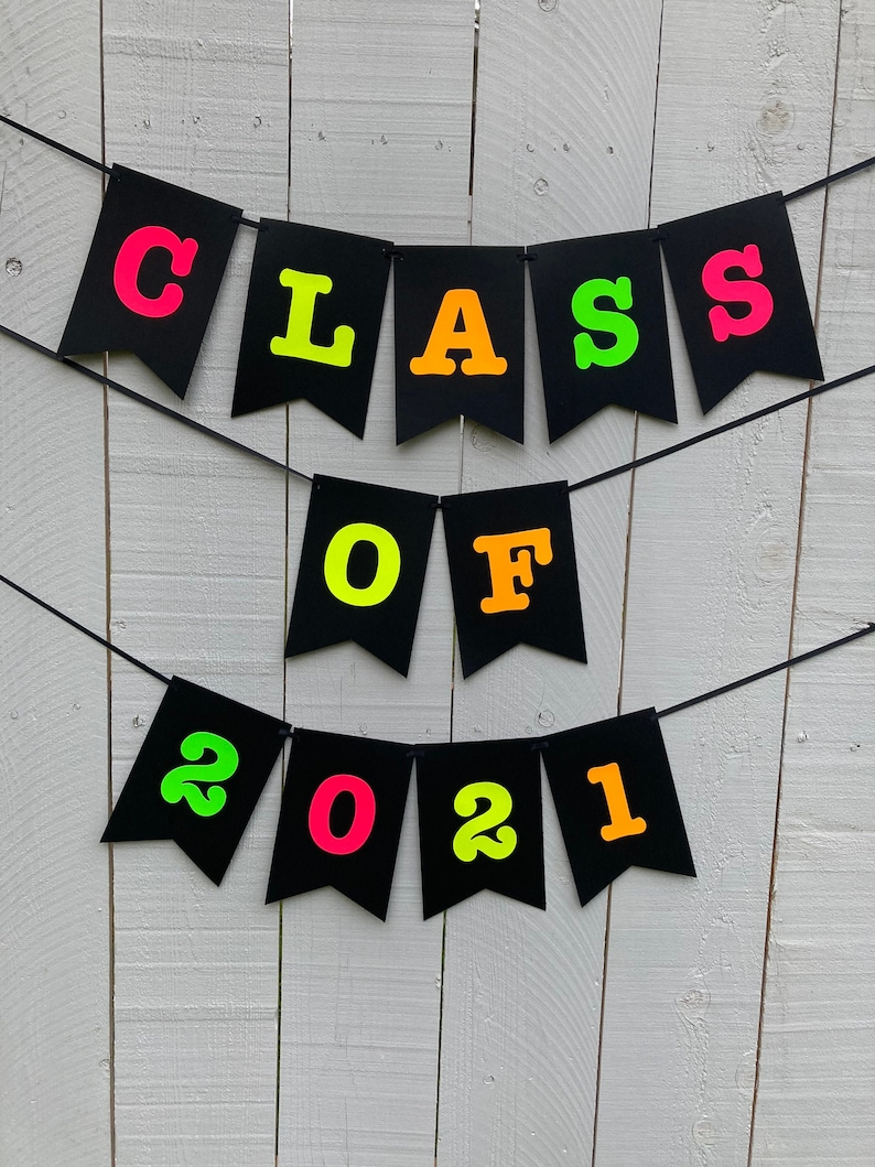Class of 2021 Neon Banner Graduation Glow Party Neon image 0