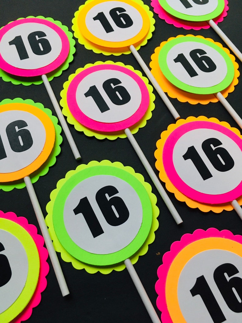 Sweet 16 Glow Party Toppers Neon Cupcake Toppers Glow Party image 0