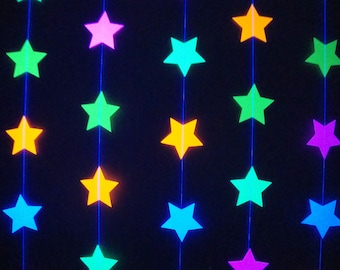 Glow Party Decorations, Neon Star Garland, Black Light Party Decor, Fluorescent Star Garland, Sweet 16 Glow Party, 80s Party, Skate Party