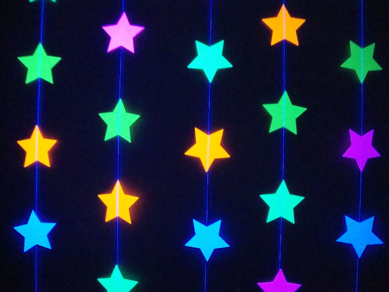 Glow Party Decorations Neon Star Garland Black Light Party image 0