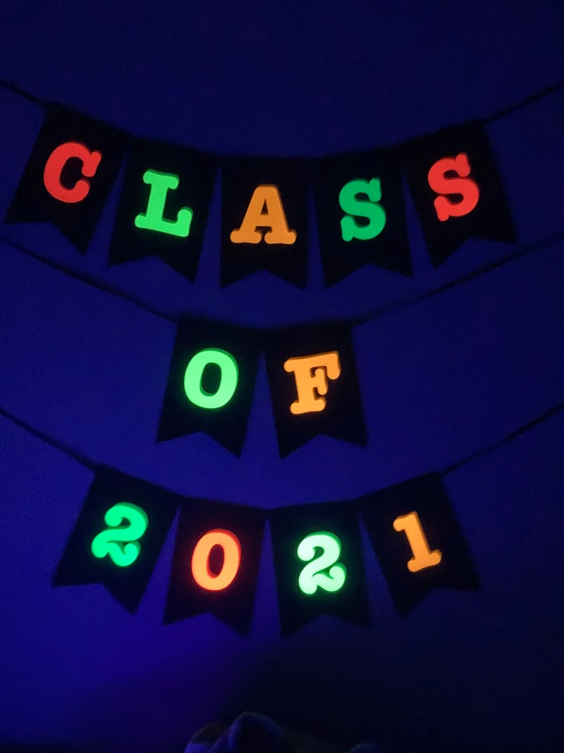 Class of 2021 Neon Banner Prom Glow Party Neon Party Black image 0