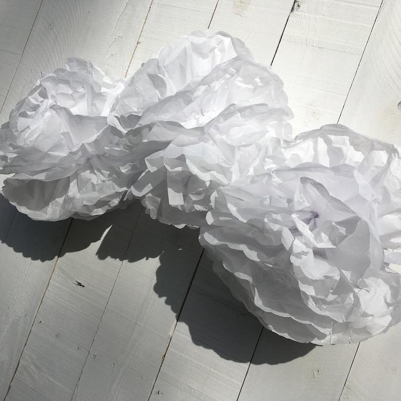 White tissue paper pompoms Pompoms clouds for sprinkle image 0