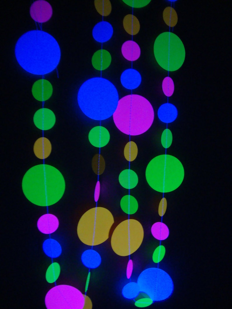 Glow Party Decorations Neon Garlands UV Reflective Circle image 0