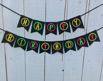 Neon Birthday Banner, Glow Party Banner, 80s Birthday Party, Black Light Party, Sweet 16 Glow Party, 80s Party, Retro Birthday, Skate Party